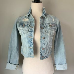 Hollister Ripped 80's Cropped Jean Jacket•NWT